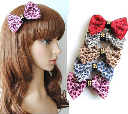 Girl's Lady Woman Headband Bowknot Butterfly Tie Hairpin Leopard PP31