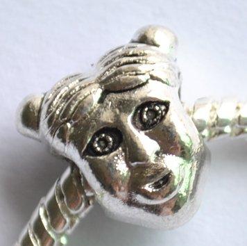 5pcs Little Girl Spacer Charm Beads Fits Bracelet Chain P158