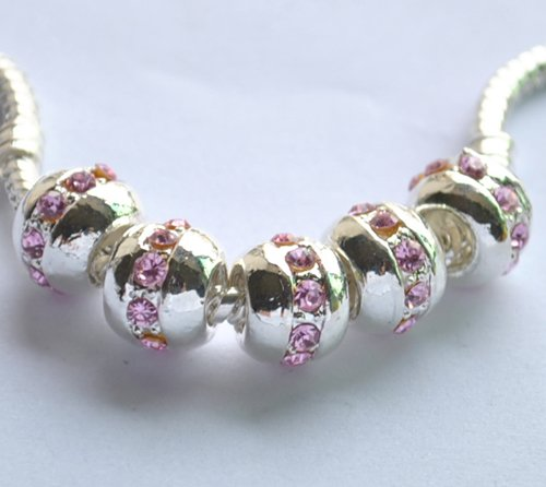 5pcs Silver Plated with Rhinestone Charm Beads Fits Bracelet Chain P167