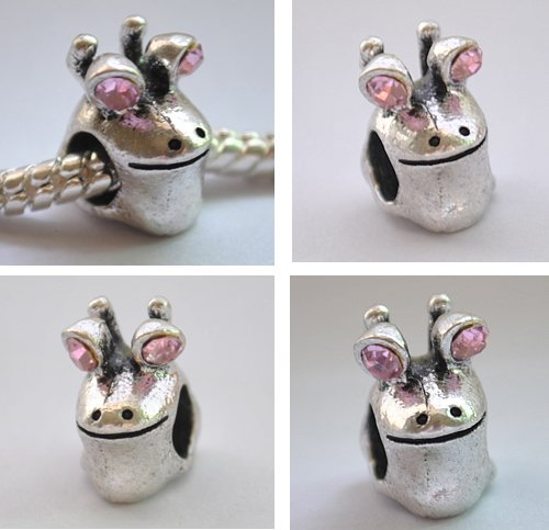 5pcs Silver Frog Head Spacer Charm Beads Fits Bracelet Chain P168