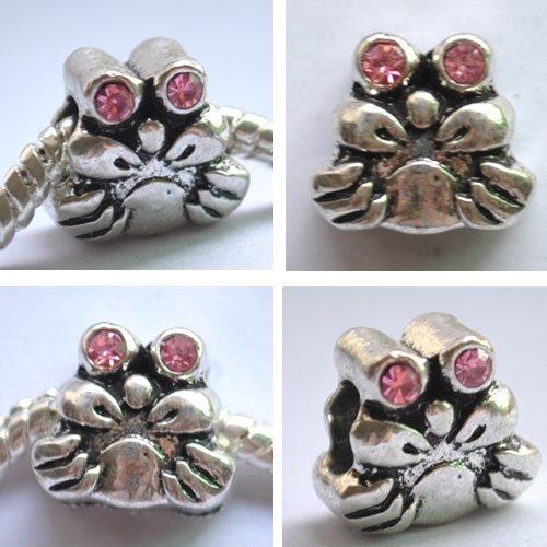 5pcs Silver Crab With Purplish Red Rhinestone Beads Fits Bracelet P177