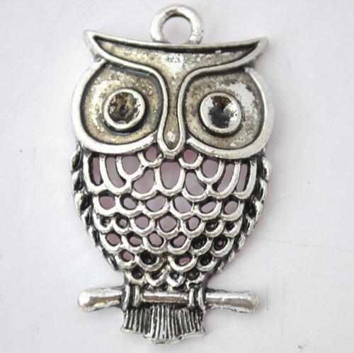 5pcs Silver Alloy Owl Beads Charm Pendants Fits Bracelet P180