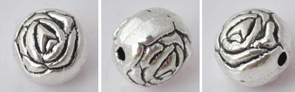 20Pcs Silver Alloy Rose Beads Charm Fits Bracelet P188