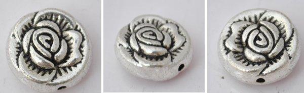 20Pcs Silver Alloy Flower Beads Charm Fits Bracelet P190