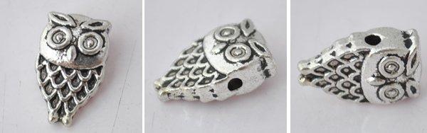 10Pcs Silver Alloy Owl Beads Charm Fits Bracelet P195