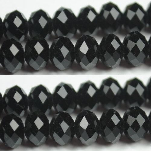 100pcs Faceted Glass Crystal Black Beads 6mm Fits Bracelet C06