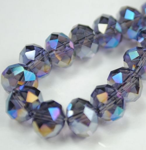 72pcs Faceted Glass Crystal Purple AB Beads 8mm Fits Bracelet C28