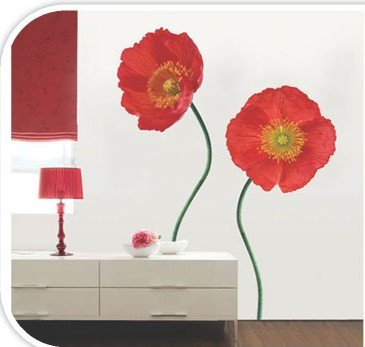 Removable Wall Art Deco Decal Sticker Red Poppy Flower WB43