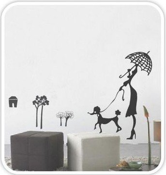 DIY Removable Wall Art Deco Decal Stickers Lady&DogWB53
