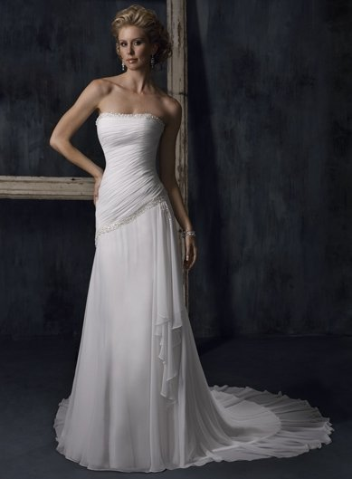 Free Shipping !! New Design strapless/chiffon/A-Line/wedding dress YY020