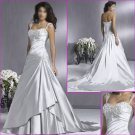 2010 New Style Detachable/Cap Sleeves/Satin A-Line/ wedding dress/YY035