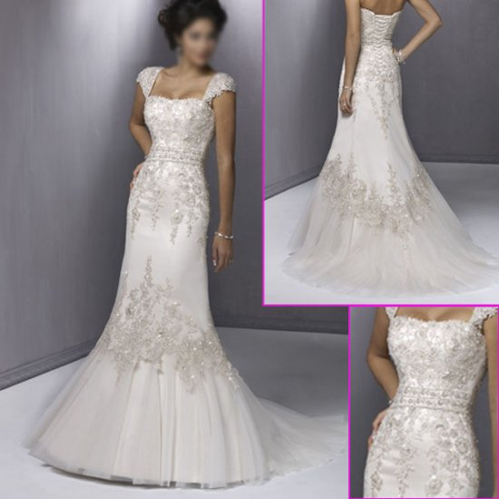 2010 New Design/Cap Sleeves/Mermaid/wedding dress YY038