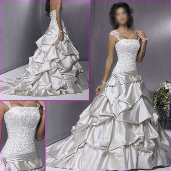 Beautiful  Detachable/Cap Sleeves/A-Line/Birdal Dress/YY039