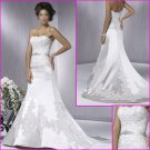 Engaging Strapless/A-Line/Satin&Lace/wedding gown/YY046