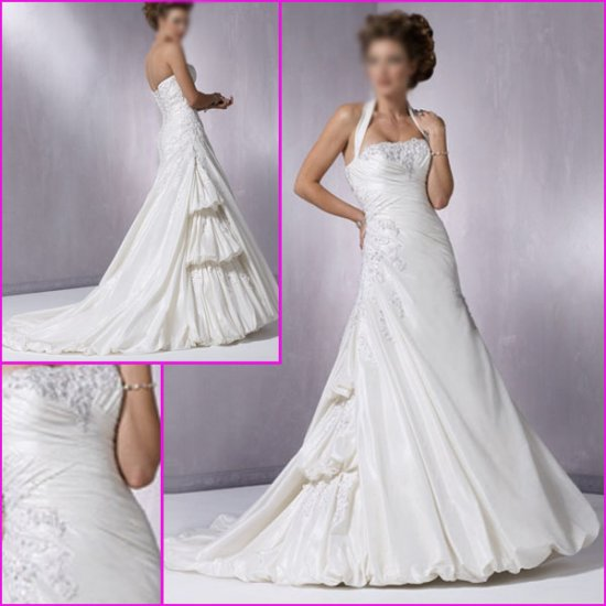 Free Shipping/Recherche/Detachable/Halter/Taffeta/A-Line/Wedding dress YY068