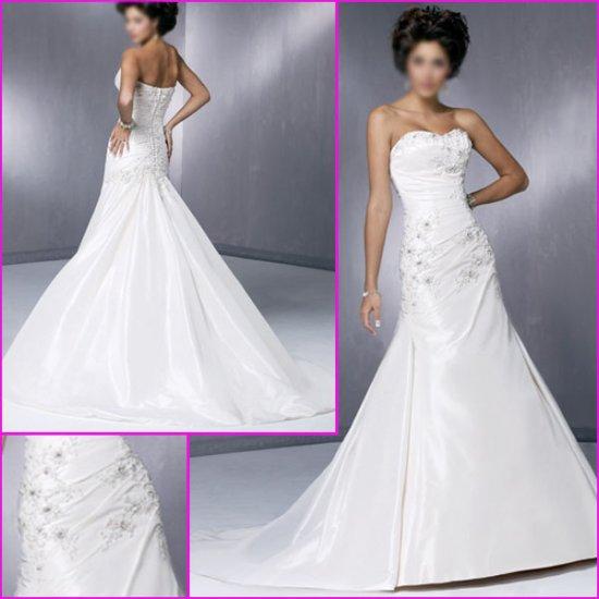 Free Shipping!Graceful Strapless/A-Line/Taffeta/Wedding Dress/YY078