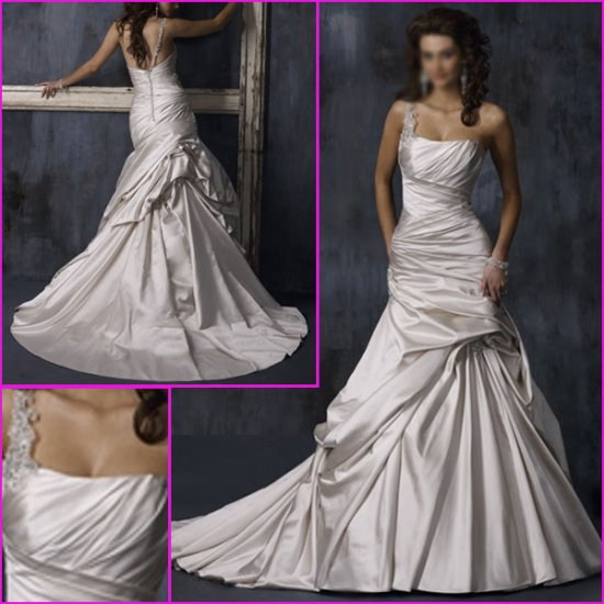 Free Shipping!!Hot selling/One-shoulder/A-Line/Princess/wedding dress/YY107