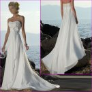 Free Shipping !Elegant/Strapless/Appliques&Beadings/Chiffon&Satin/A-Line/wedding dress/YY149