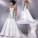Free Shipping !Elegant/Strapless/Satin/with Appliques&Beadings/A-Line/wedding dress/YY156