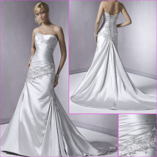 Concise/Strapless/appliques&beadings/A-Line/wedding dress/YY161