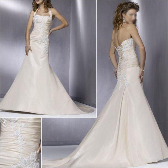 Graceful/Taffeta/Detachable/Halter/Appliques&Beadings/A-Line/Wedding Dress/YY171