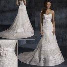 Elegant/Strapless/Satin/Appliques&Beadings/A-Line/wedding dress/YY173