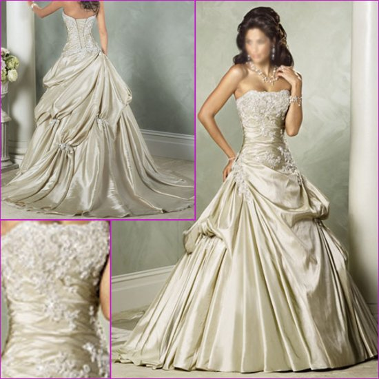 Fashionable/Strapless/Appliques&Beadings/Floor-Length/A-Line/Princess/Wedding Dress YY184