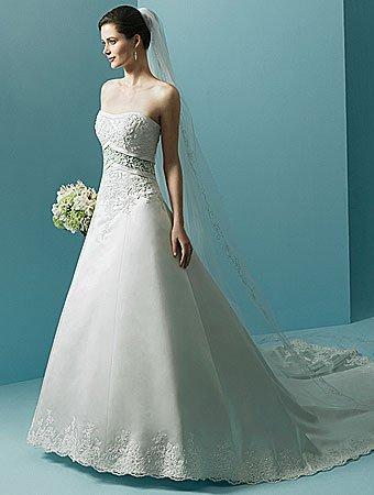 Free shipping/A-Line/Sweatheart/Satin/Chapel train/Wedding Dress/AA012