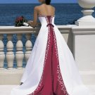 Free Shipping/A-Line/Strapless/Satin/Chapel train/Wedding Dress/AA014