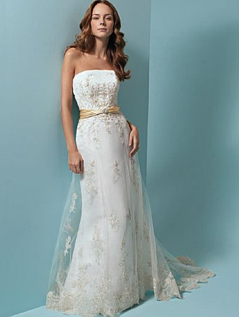 Refined/Strapless/Satin&Mesh/with Appliques/A-Line/Floor Length/Wedding Dress/AA015