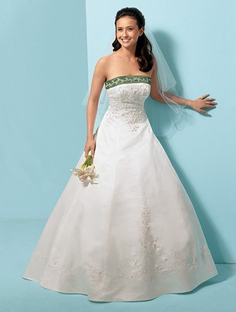 Noblest/Strapless/Satin/A-Line/Princess/Floor-Length/Bridal Gown/AA016