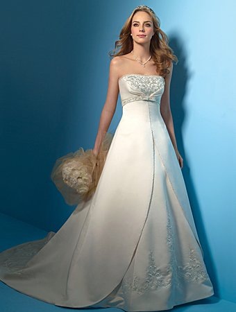 Laconic/Strapless/A-Line/Princess/Floor-Length/Bridal Gown/AA021
