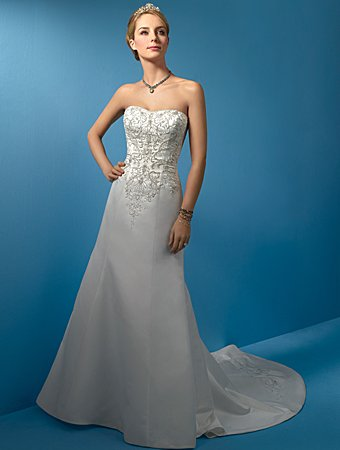 Delicate/Satin/with Appliques/Strapless/A-Line/Bridal Gown/AA027