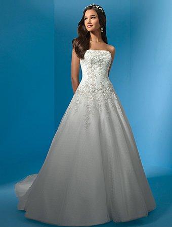 Elegant/Satin&Organza/Strapless/A-LinE/Princess/Floor-Length/Wedding Drerss/AA029
