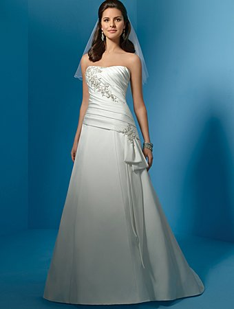 High Quality/Strapless/Satin/with Appliques/A-Line/Princess/Floor-Length/Wedding Dress/AA034