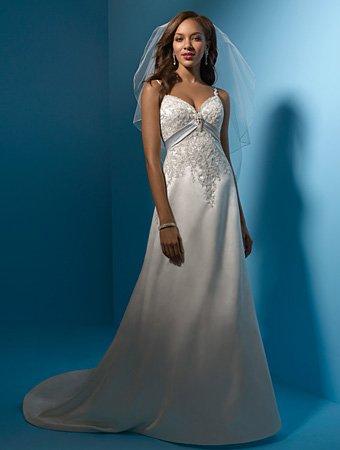 Beautiful/Spaghetti Strap/Sweetheart Neckline/Satin/A-Line/Princess/Floor-Length/Wedding Dress/AA044