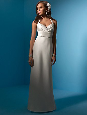 Succinct/Sweetheart  Neckline/Halter/Satin/A-Line/Floor Length/Wedding Dress/AA049