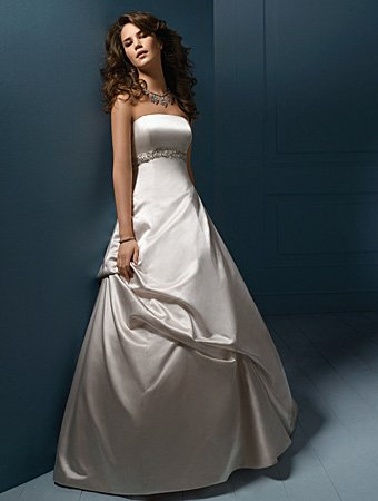 Free shipping/A-line/Princess/Strapless/Satin/Floor Length/Bridal Gown/AA053