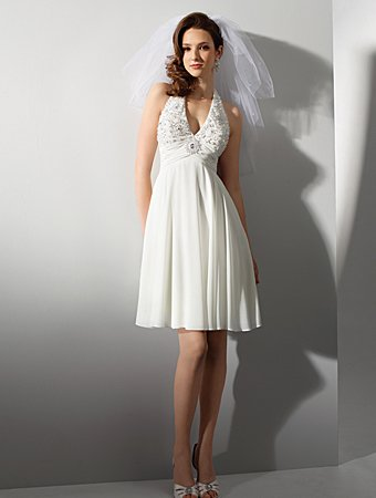 Free Shipping!!Lovely/Halter/Sweetheart Neckline/Knee-Length/Bridal Gown/AA137
