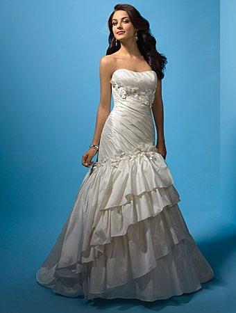 Graceful/Strapless/Mermaid/Trumpet/Taffeta/with Handmade/Flower/Wedding Dress/AA140