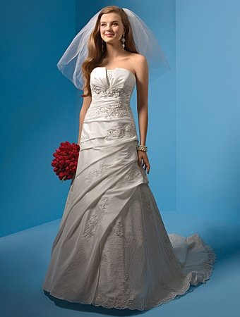 Recherche/Strapless/Taffeta/with Appliques/A-Line/Princess/Floor Length/Wedding Dress/AA148