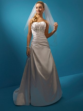 Elegant/Backless/A-Line/Princess/Floor Length/Satin with Appliques/Bridal Gown/AA155