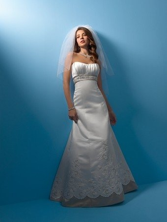 Elegant/Strapless/Satin with  Ribbon/A-Line/Princess/Floor Length/Bridal Gown/AA156