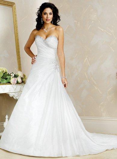 Acctractive/Strapless/Taffeta with Beading/A-Line/Princess/Floor Length/Wedding Dress/BR007