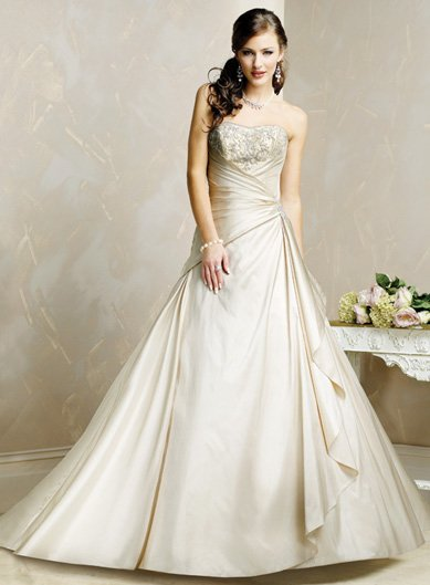 Tasteful/Strapless/Satin with Beading/A-Line/Princess/Floor Length/Wedding Dress/BR008