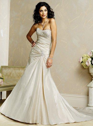 Graceful/Straples/Taffeta with Beading/A-Line/Princess/Floor Length/Wedding Dress/BR009