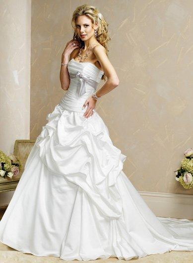 Inviting/Strapless/Satin&Organza/with Ribbon/A-Line/Princess/Floor Length/Wedding Dress/BR010