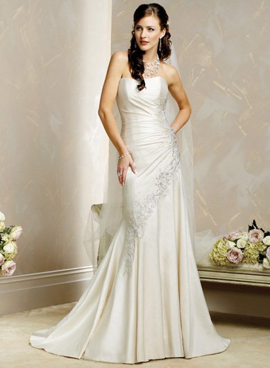 Decent/Strapless/Satin with Beading/Princess/A-Line/Floor Length/Wedding Dress/BR014