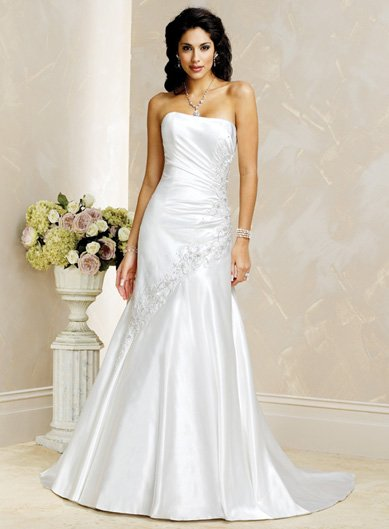Laconic/Strapless/Satin with Appliques/A-Line/Princess/Floor Length/Wedding Dress/BR015