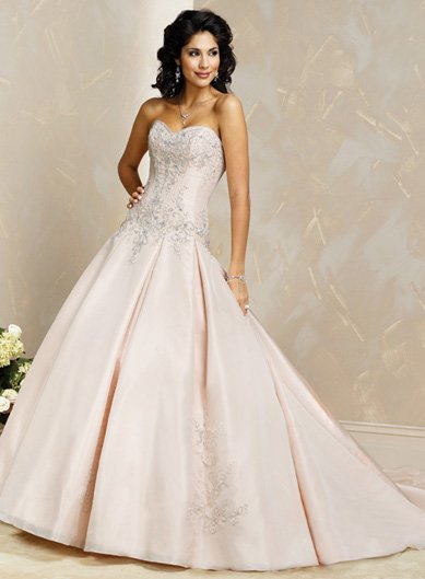 Lovely/Strapless/Satin with Appliques/Ball Gown/Floor Length/Wedding Dress/BR017